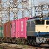 貨物列車撮影 9/12 国鉄色充当海コン列車、白プレPF充当リニア残土輸送など