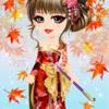 ゲーム「恋してキャバ嬢」のアバター♪紅葉色の花魁風ドレス編