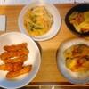 胡麻唐揚げ、かき揚げ、ごぼう餃子、鶏葱、リンゴ