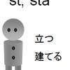 『黄金の語根』第1位 sta, sist「立つ、立てる」(L.stare, sistere)