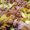 豚肉と豚肉と丸ズッキーニしいたけの生姜焼き