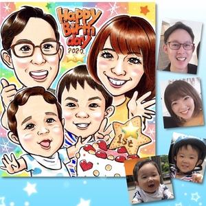 似顔絵ご注文作品(42)/ペット、お子様誕生日、芸人