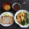 重ねとんかつ(ねぎ入り)&小松菜と練り物の煮物