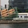 #133 賃貸住宅の展示施設「ROOFLAG」の大屋根部分の組み立て始まる 江東区東雲、2019年5月