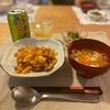 キムチチャーハン、ニンジン春雨卵スープ、オクラのおかか和え