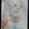 水彩画34枚目「サイの上にシマエナガ」