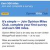 マイレージプラスのopinion miles club入会で500マイル