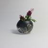 【陶器製】黒マット釉+志野釉・一輪挿し