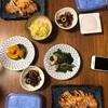 豚ロース味噌焼き、ターサイとベーコンのニンニク炒め、ひじき、キャベツとネギの酢味噌かけ、かぼちゃの煮物