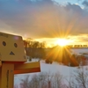 上富良野町 冬のかんのファームから見た夕日