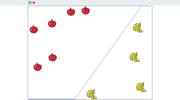 「単純パーセプトロン」を使った分類(フルーツのグループ分け)を体験できる Scratch プロジェクト