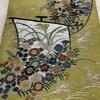 帯(名古屋帯) 黄緑地・帆船と秋草模様・刺繍・アンティーク