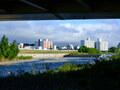 炎天下の日中を避け、夕方から豊平川沿いでサイクリング写真撮影