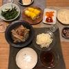 半田麺、とうもろこし、空芯菜の炒め物、スペアリブの梅干し煮