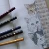 完成】uni ARTERASE COLOR色鉛筆でニャ政婦は見たページ(←が塗りあがりました☆おとニャーの塗り絵ノートより