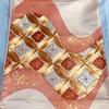 帯(袋帯) ピンク系(素色×洗朱色)・七宝繋ぎに花菱・刺繍(きしや扱い)