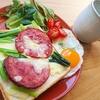 小松菜とソーセージのチーズトーストレシピ【ワンプレート朝食】