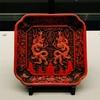 赤と黒のクールな漆器〜双龍彫彩漆盆〜
