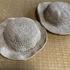 【手編み】エコアンダリアの帽子、親子でおそろい。