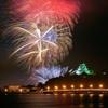 唐津城と花火