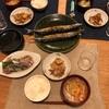 ごはん、秋刀魚、長芋と豚肉のポン酢炒め、野菜の味噌汁