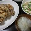 手羽元焼き、オクラ納豆、スープ