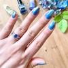 青い石に青いネイルって可愛い♡