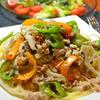 減塩ヘルシー、レンコンと鳥挽肉の野菜沢山パスタ♫