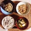 豚肉と三つ葉のすまし汁、れんこんきんぴら、小粒納豆。