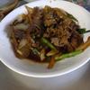 幸運な病のレシピ( 714 朝:牛肉とインゲン玉ねぎの炒め、白インゲン、鳥モツの時雨煮、塩サバ、鮭