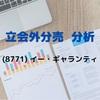 【立会外分売の分析】8771 イー・ギャランティ