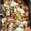 茄子とキャベツ、挽肉の花椒炒め