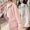 韓国ファッション ファーブルゾン アウター ラビットファー ジッパー 立て襟 ベルト レディース