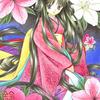 「さつきの姫」色鉛筆&鉛筆オリジナル和風イラスト:つつじとさつきの見分け方