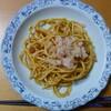 ミートソーススパゲティ(焼きそば風)+カニかけ