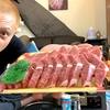 国産黒毛和牛(1034円)焼肉用をカセットコンロで焼肉