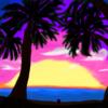 夕日と海とぷちゴン(Photoshop)|ぷちゴン