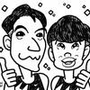 陸上男子山縣と多田の似顔絵