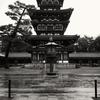 大雨の中の薬師寺西塔