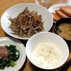 豚肉とごぼうのしぐれ煮とほうれん草のおひたし