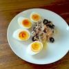 塩ゆで卵、ツナとオリーブと玉ねぎのマリネ