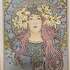 ミュシャ「サラ・ベルナール」のポスターの塗り絵を自由に塗ってみた