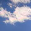 薄明光線(冬の朝)と彩雲(これも冬)