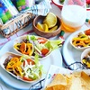 カラーピーマンマリネで彩り☆タコスボートと#藍のある食卓