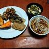 幸運な病のレシピ( 2289 )朝:イカ天、ナス天、鮭、塩サバ、蕎麦朝食、味噌汁