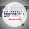 CSVファイルとは?ただのテキストファイルです!【注意】保存に騙されるな