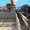 新築アパートの工事 棟上げ 初日