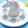 青い花柄ビーズブレスレット【PandaHall手作りレシピ】