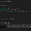 【Rider】string.Format のように扱う必要があること明示する StringFormatMethod 属性
