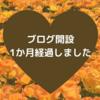 ブログ開設1ヶ月、ありがとうございます